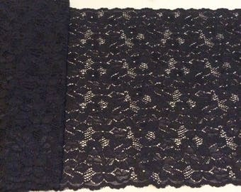 """NEW! Black Floral Stretch Lace Trim * Sold by the Yard *  12"""" Wide * 4-way Stretch"""