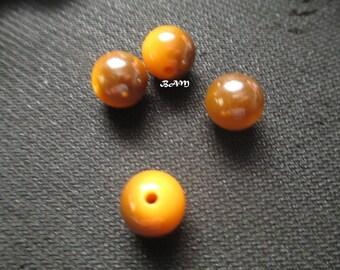 Set of 4 yellow two tone 12 mm acrylic beads