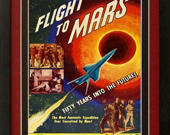 Flight To Mars Sci-Fi Movie Poster Custom Framed A+ Quality