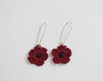 Burgundy Remembrance Poppy Crochet Dangle Earrings