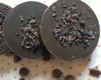 Ultimate Chocolate Lover's Cold Process Soap/Shaving/Shampoo Bar with Cocoa Butter and Cocoa Nibs