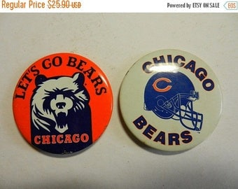 Summer Sale Two Vintage Chicago Bears Football Buttons