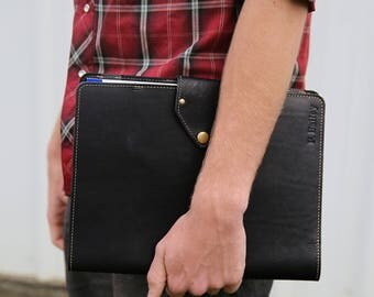 The Vanderbilt Fine Leather Portfolio Black Notebook Padfolio, Father's Day Gift, Gift for Him, Gift for Dad