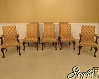 L29248E: Set Of 8 Georgian Carved Mahogany Upholstered Dining Room Chairs