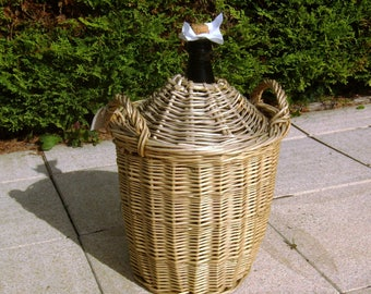 Antique French demijohn, Demijohn Wicker bottle covered, rustic French, Wicker, early 20th, 18 inches, 11 L bottle