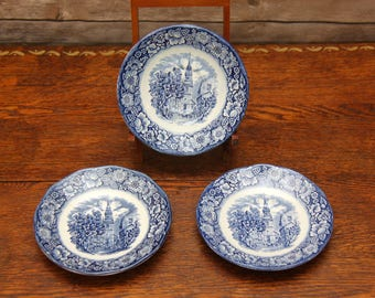 Staffordshire Liberty Blue Saucers | Lot of 3 | Featuring Boston's Old North Church  | Made in England | Excellent!