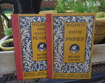 McGuffey's First Eclectic Reader & Eclectic Primer Antique Children's Textbooks Copyright 1909/1920