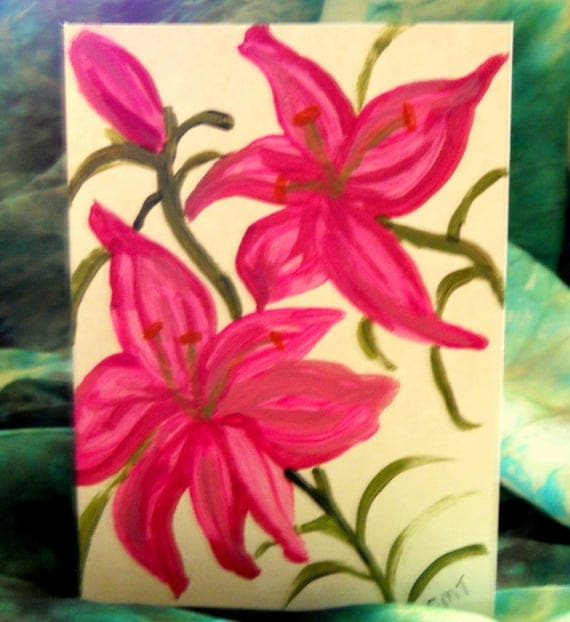 Original Hand Painted Blank Note Card, Acrylic Painting, Lily-1, Folk Art Keepsake Signed Artwork by Stacey Torres