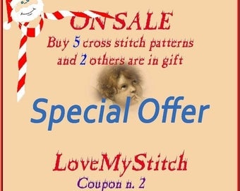 ON SALE Special Offer - Buy 5 Cross Stitch Patterns and 2 others is in Gift