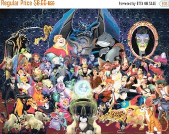 "ON SALE Counted Cross Stitch Patterns - Disney villains 2 - 31.50"" x 23.64"" - L1024"