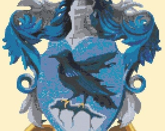 "Potter Cross Stitch Pattern cross ravenclaw pattern needlework needlepoint embroidery - 9.50"" x 11.86"" - L1457"