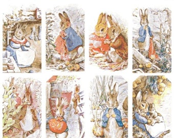 """bunny characters by beatrix potter counted Cross Stitch Pattern chart pdf format - 23.64"""" x 19.86"""" - L943"""