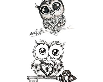 temporary tattoo   whimsy  pussy sticker fake tattoo owl  a bird of Minerva   night owl  black pattern tattoo temporary tattoo
