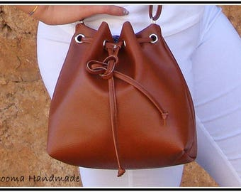 Small bucket bag brown leather bucket bag
