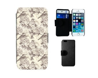 Wallet case iPhone 6 6S 7 8 Plus X SE 5S 5C 5 4S Samsung Galaxy S8 Plus S7 S6 Edge, S4 S5 Mini Note 5, vintage phone cover hummingbirds. F22