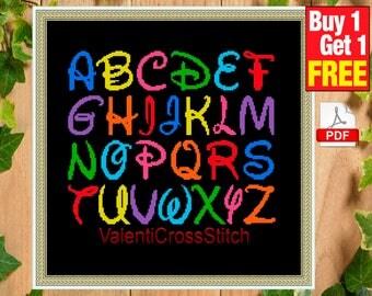 DISNEY Cross Stitch Pattern,Alphabet, Counted Cross Stitch Patterns, #sp 92