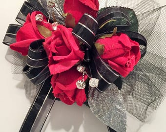 Homecoming Red and Black Silk Wrist Corsage