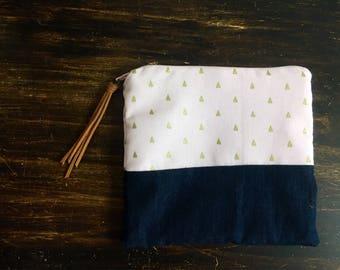 Baby pink geometric denim accessories bag