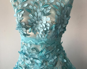 turquoise blue silver lace fabric embroidery 3D laser cut leaves flowers metallic gold thread formal evening prom bridal