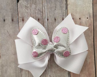 Bow on Pinwheel, Minnie Bow, White Pinwheel Bow