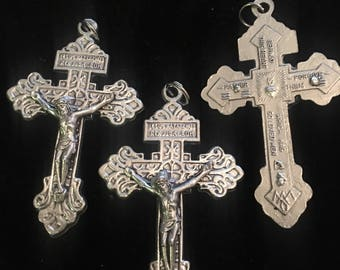 Lot of 3 Italian Made Pardon Crucifix Double Sided Rosary Cross Vintage Style