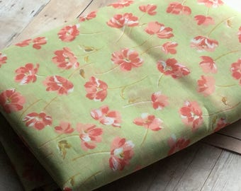 Sheer Vintage Fabric  - Japanese - Green with Coral Flowers - TOYOBO