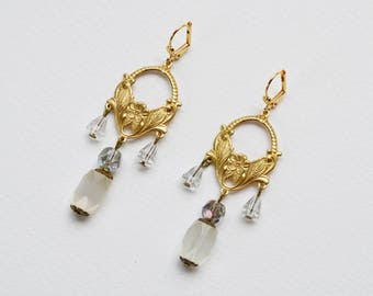 Earrings art nouveau gold beads and white vintage