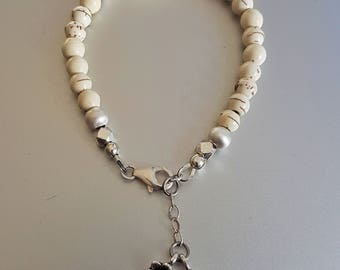 Natural Cream Howlite Bracelet with Fine Silver Beads and Charms plus Sterling Extender Chain
