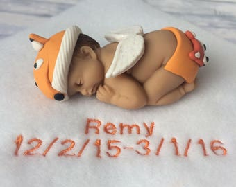 Fox Baby Cake Topper | Woodland Baby Shower Decorations | Fox Baby Keepsake | Woodland Cake Topper | Baby Fox Gift | Clay Baby Doll