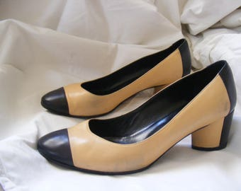 Vintage Chanel Shoes - classic bi-color pumps late 80s early 90s, re-soled