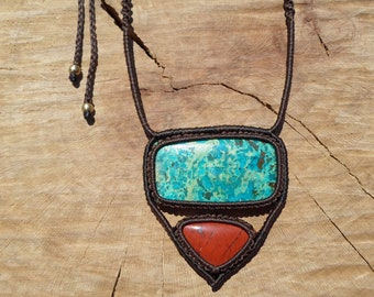chrysocolla and red jasper necklace,macrame necklace,double gemstone necklace,womans necklace,gemstone necklace,macrame jewelry,boho chic