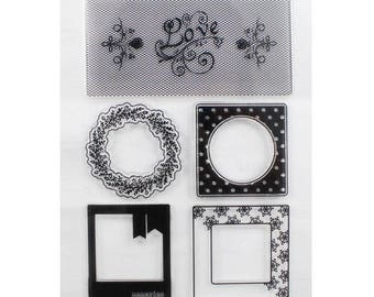clear stamp Board 5 pads banners and frames pictures