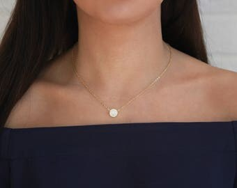 Gold Zirconia Necklace • Circle Necklace w Tiny CZ Stones • Layering Necklace • Minimalist Jewelry • Gift for Her