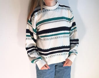 Teal and Navy 90s Patterned Sweater