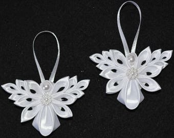 Pair of Handmade Little Angels CHRISTMAS Tree Decoration/Ornament, Kanzashi Style, FREE UK Delivery