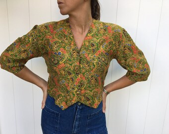 80's Printed Button Up Crop Top 3/4 Sleeve Size L