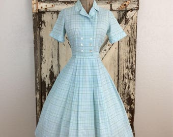Vintage 1950s Full Blue and White Plaid Double Breasted Full Dress 28 1/2 Waist Medium/ Small