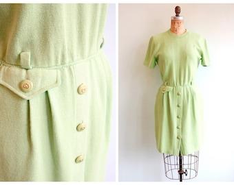Vintage 1980's Neon Green St. John Knit Dress | Size Medium