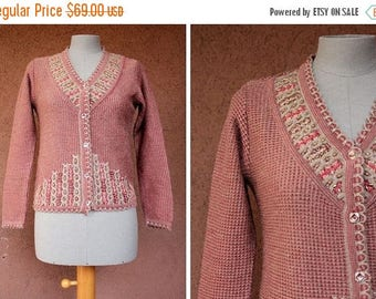SUMMER SALE 1960's Blush Pink Cardigan - 60's Embroidered Cardigan - Size S