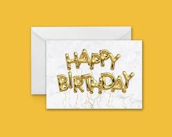 Happy Birthday Foil Balloon Greeting Card
