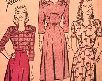 RARE 1940's Sweetheart Neckline Dress Pattern---Advance 3955---Size 16  Bust 34  UNCUT