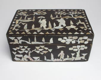 Antique 19th century Chinese black lacquer box with mother of pearl inlay.