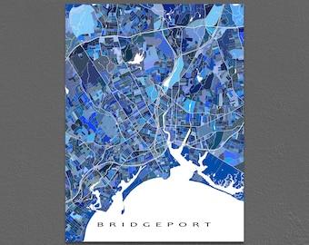 Bridgeport Map Art, Bridgeport Connecticut USA, CT City Map Poster