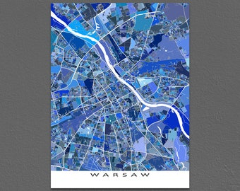Warsaw Map Print, Warsaw Poland, Europe City Map Artwork