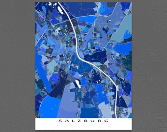 Salzburg Map, Salzburg Austria, City Art Maps, Europe