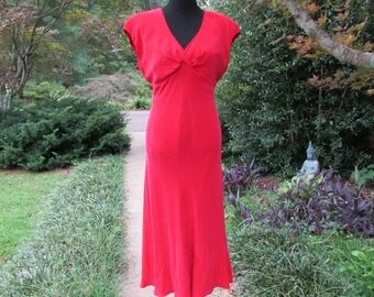 RED SILK DRESS, Vintage silk maxi dress, 70s Boho sexy disco dress, soft sueded silk, sleeveless long red cocktail dress, fit & flare maxi