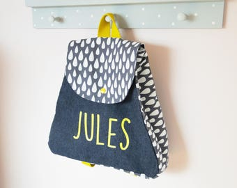"Backpack ""drops gray"" nursery school in denim and cotton with personalized first name"