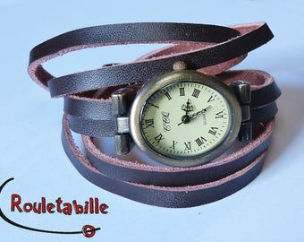 """Wristwatch """"Oval"""" old bronze, brown leather, wrap around"""