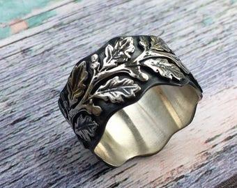 Silver oak leaf ring,  Botanical jewellery, Botanical ring, Statement oak leaf sterling silver ring, Silver woodland ring, Rustic leaf ring