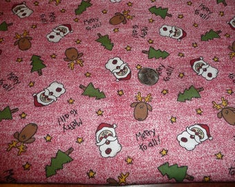 Merry To All Cotton Fabric 1 1/8 Yard